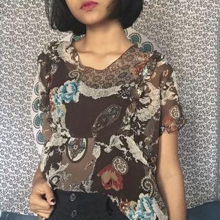 Vintage Blouse 90's / Floral Top