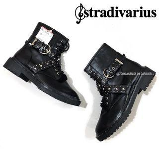 [FREE DELIVERY] Stradivarius Women's Chunky Lace-up Studded Detailed Ankle Boots
