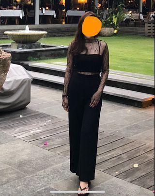 Top transparan black lace