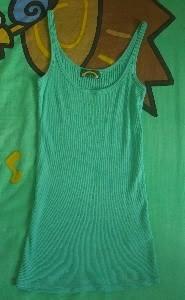 Topshop Green Thin Strap Ribbed Top