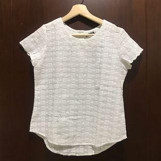 Blouse Semi Crop Top Lace Putih White