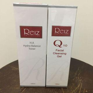 Reiz 玻尿酸深層保濕露120ml、Q10超保濕潔顏晶露150ml