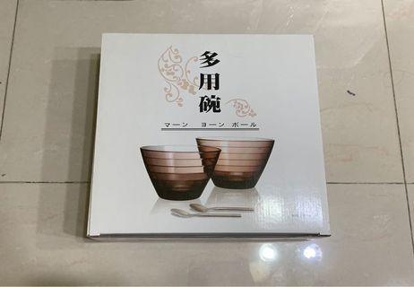 多用玻璃杯碗(附湯匙) MADE IN TAIWAN
