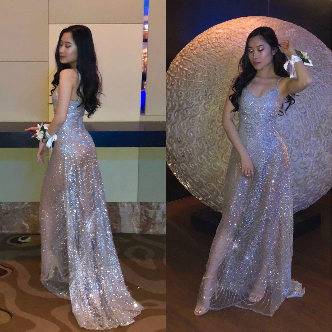 Alamour the Label - Jewels Gown in Silver for RENT