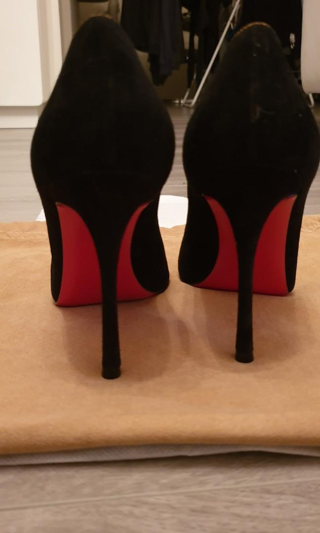 Authentic CHRISTIAN LOUBOUTIN Size 37.5 Suede leather heels adorned with gold and jewel bow - BRAND NEW only tried at home