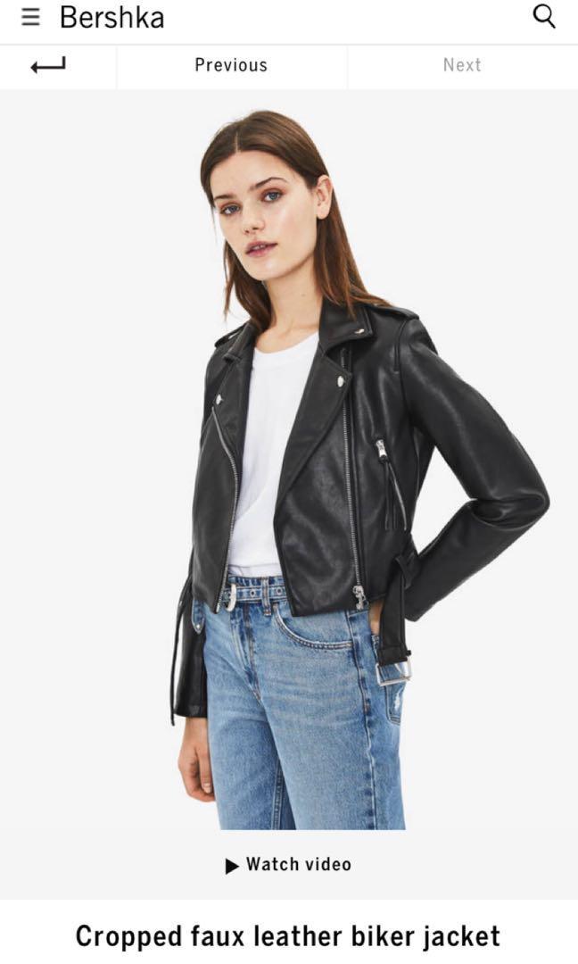 Bershka S Leather Biker Crop Jacket Women S Fashion Clothes Outerwear On Carousell