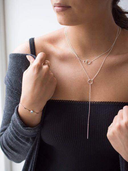 Bluboho 100% sterling silver circle lariat necklace