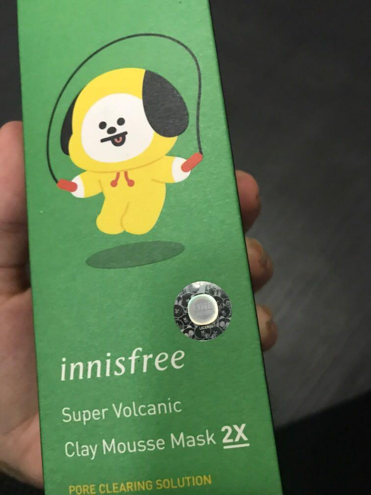 (WTS) BTS BT21 Chimmy Innisfree Super Volcanic Clay Mousse Mask
