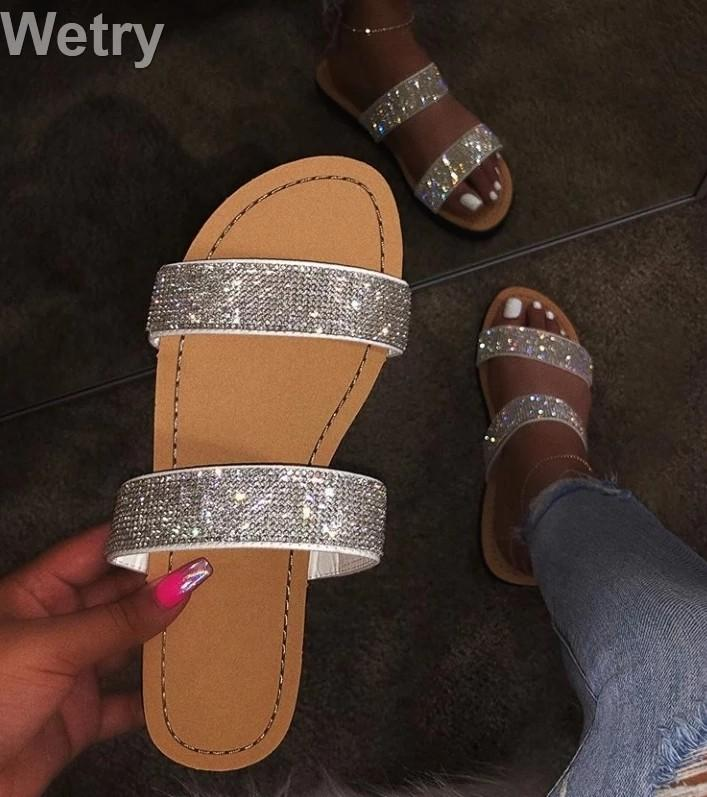 Dimond women slippers summer crystal Hollow flat Slide