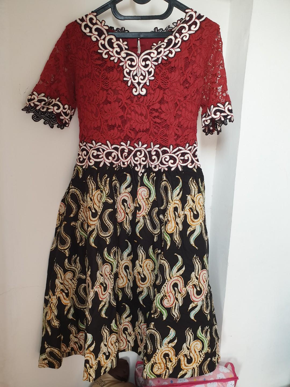 Dress Batik Kombinasi Womens Fashion Womens Clothes