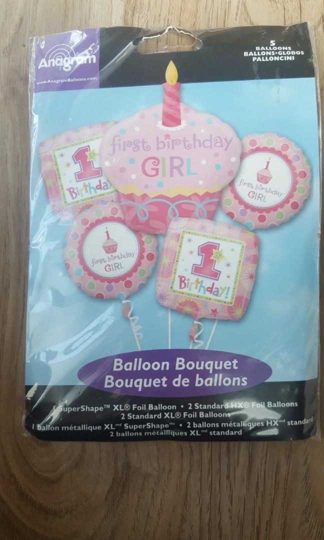 First birthday girl balloons