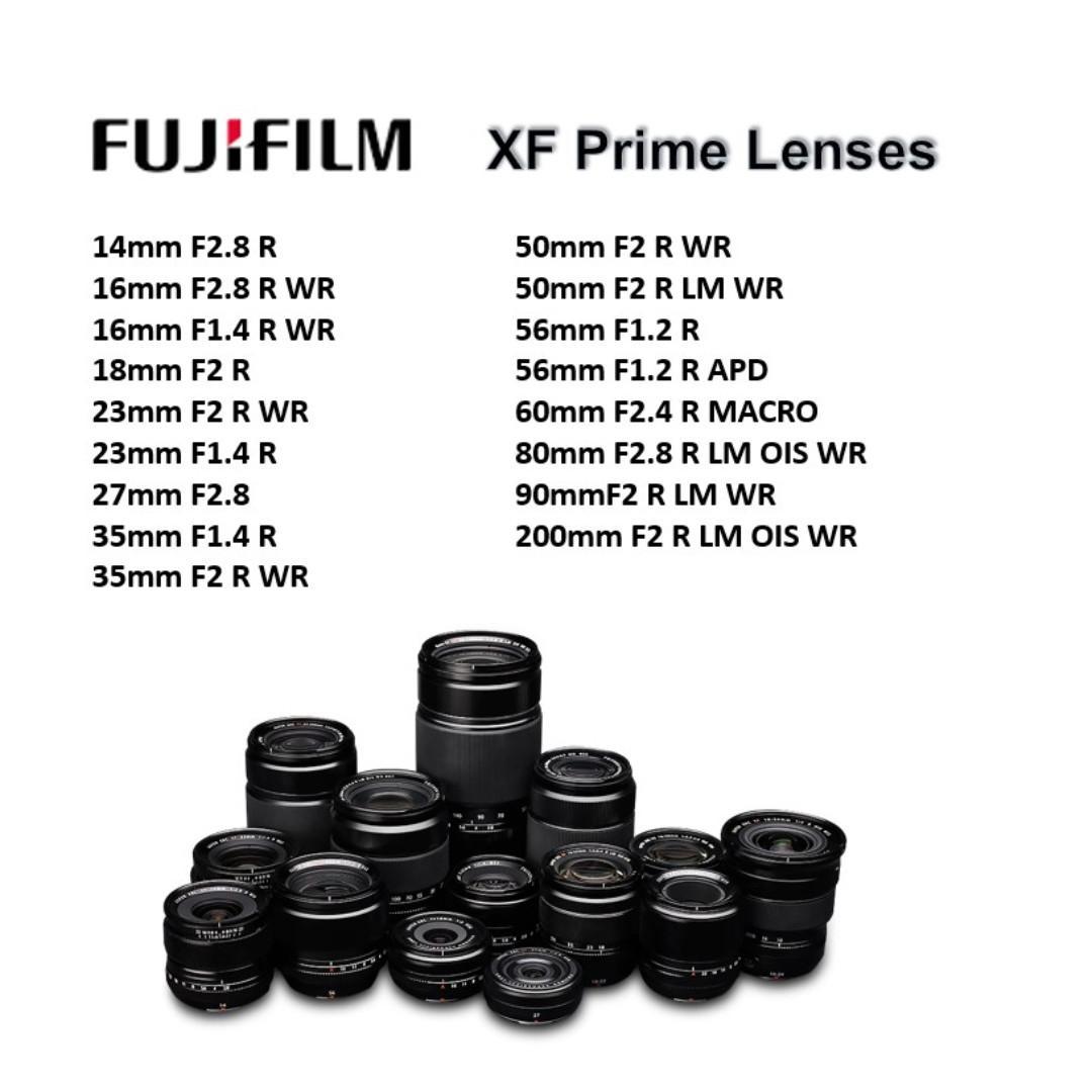 Fujifilm X Prime Lenses 14 16 18 23 27 35 50 56 60 80 90 200 mm F1.2 F1.4 F2 F2.4 F2.8