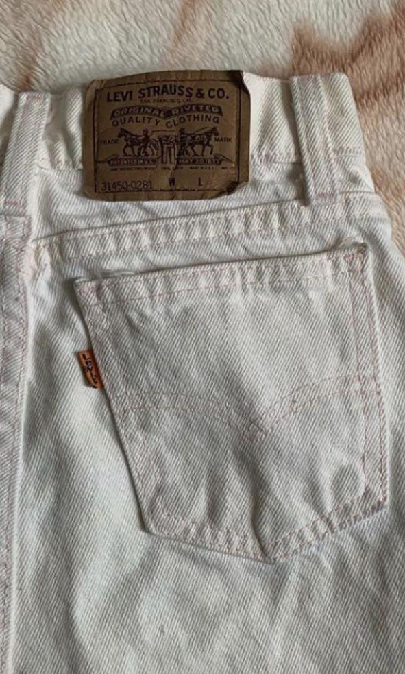 Levi white high rise shorts with baby pink detailing