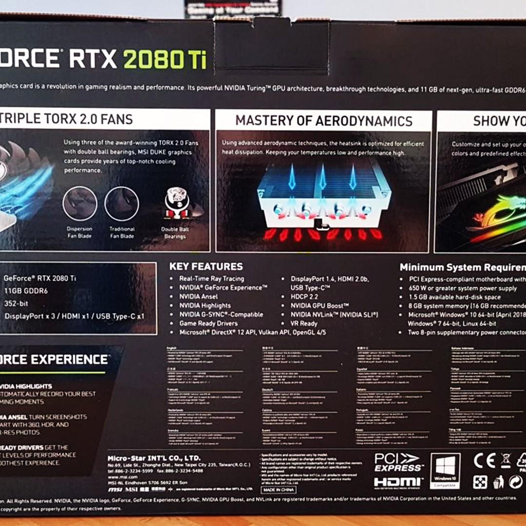 DUKE GEFORCE RTX 2080 TI 11G GDDR6 OC, Electronics, Computer