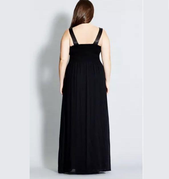 NWT City Chic Lace Maxi Dress sz 14 16 18 20 Black