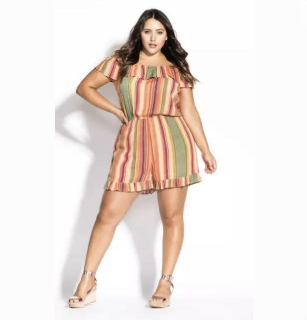NWT City Chic Stripe Playsuit Romper Jumpsuit sz 16 18 20 22 Orange Multi