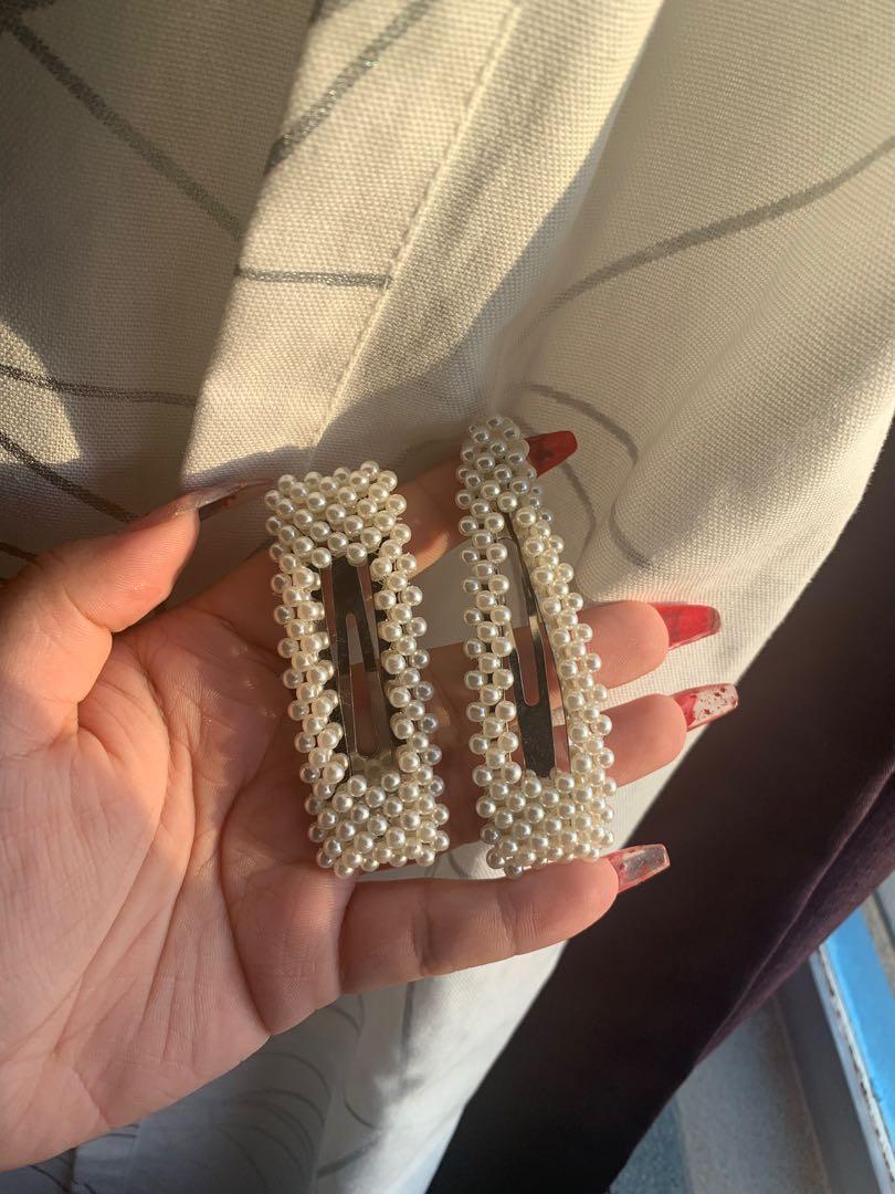 Pearl Hair accessories barrettes hair clips pins 90s