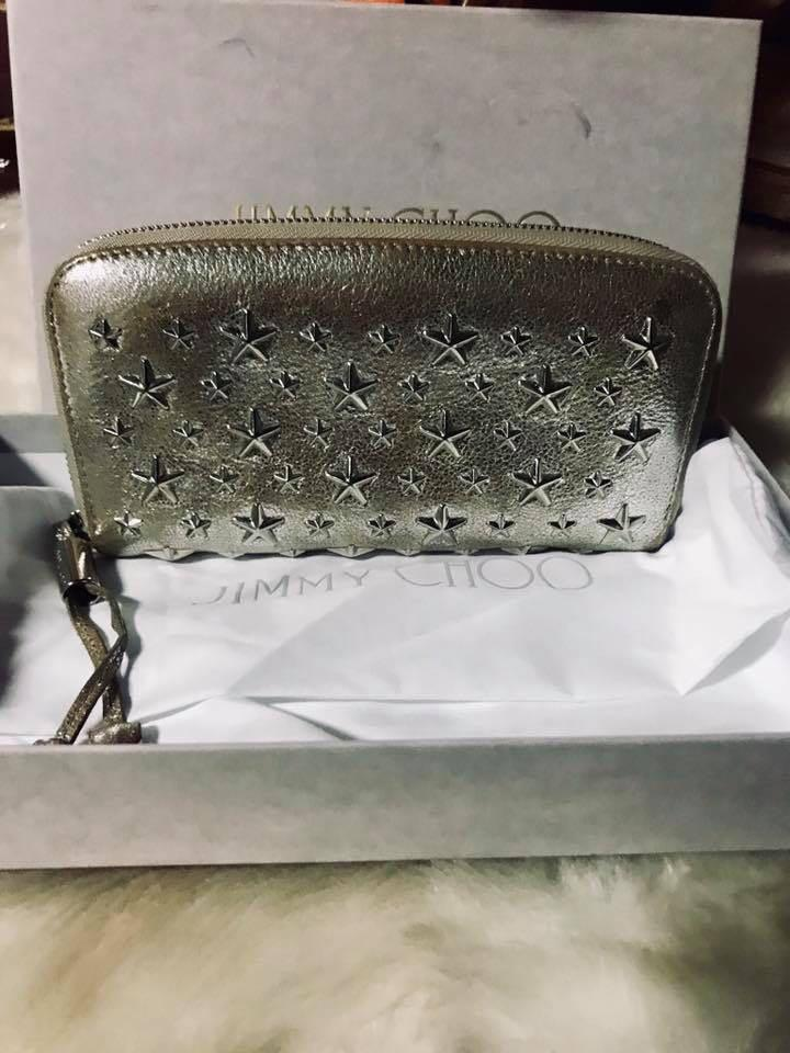 ❤️SALE❤️ Authentic Jimmy Choo Filipa Star Silver Zippy Wallet