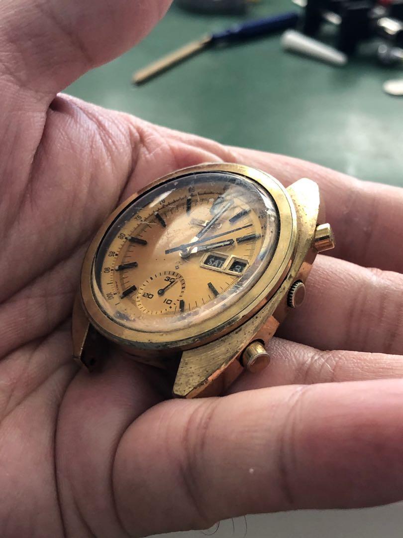 Seiko 6139 6015 chronograph gold