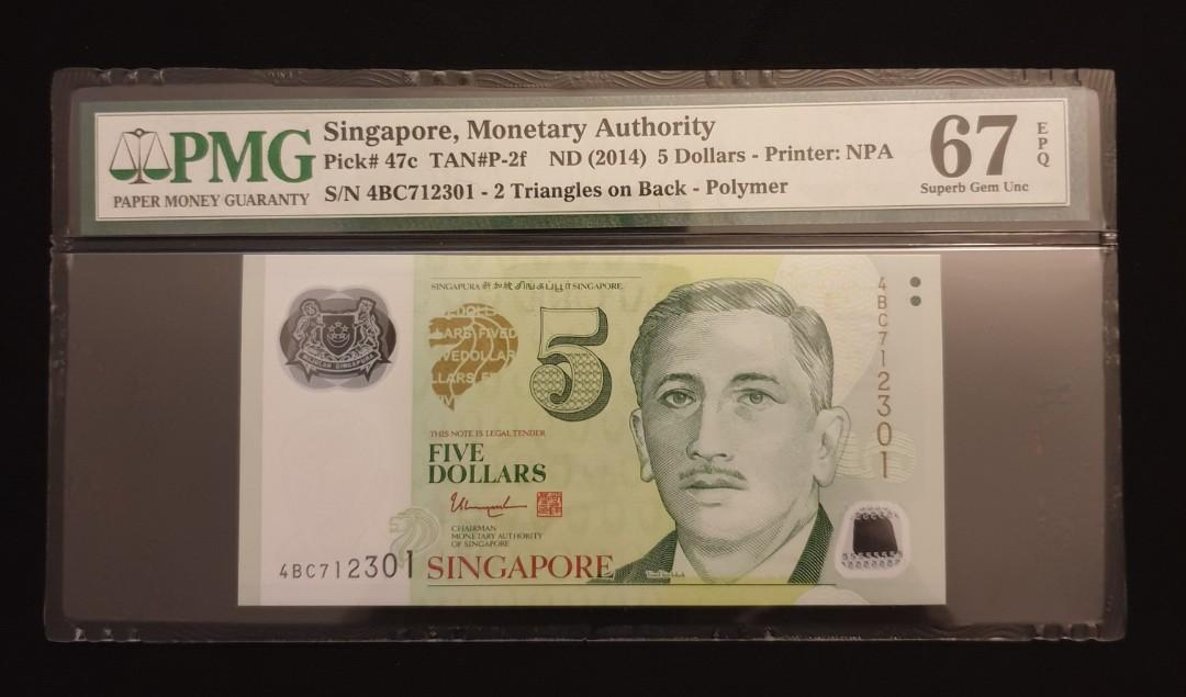 5 Dollars UNC /> Two Triangles P-47c ND Polymer Singapore 2013