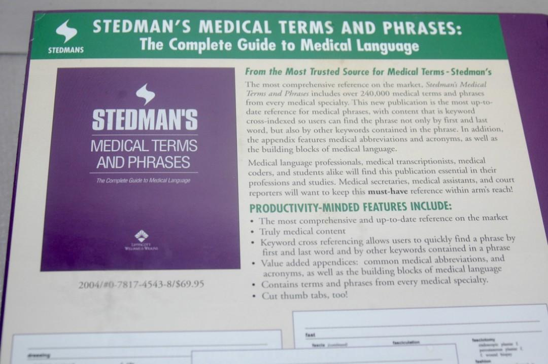 Stedman's Medical Terms and Phrases  Thumbed Edition  ISBN-13: 978-0387123561, ISBN-10:0781745438