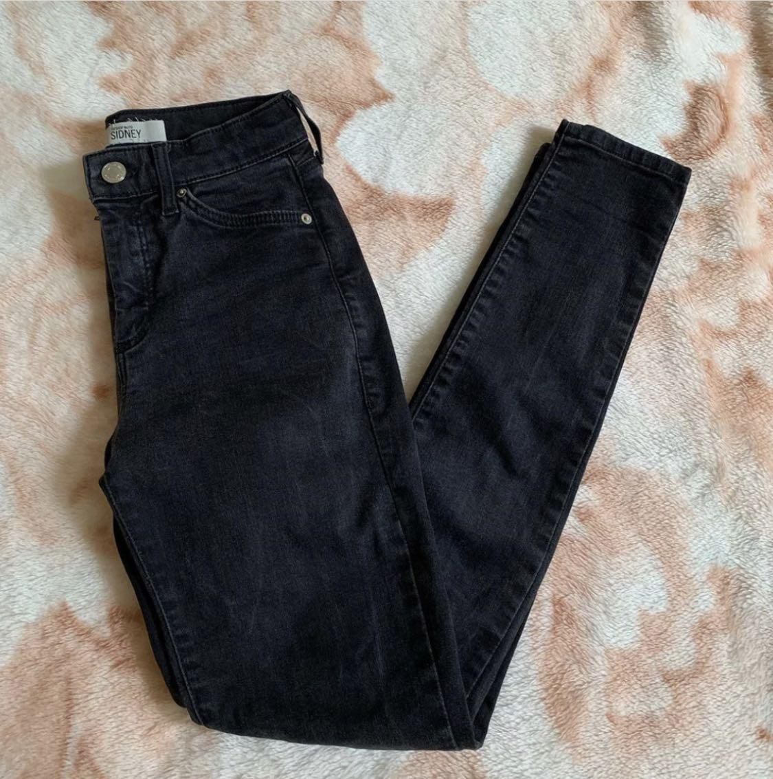 Topshop Sydney high waisted jeans with grey tones size 25
