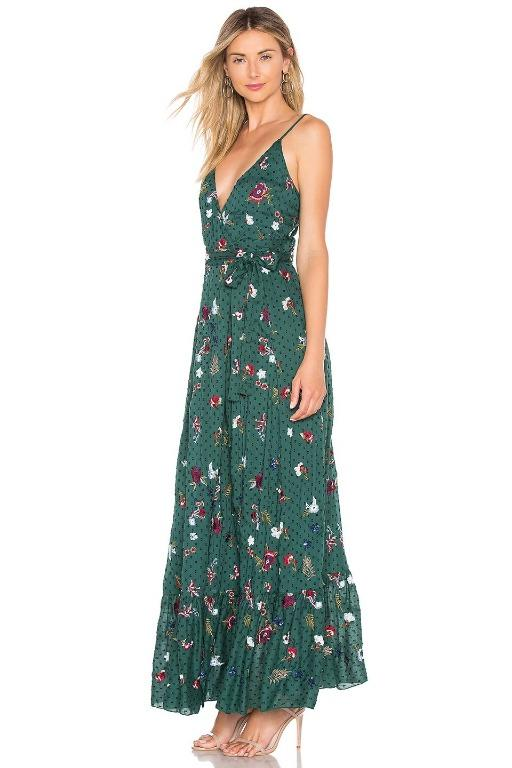 Tularosa Aubrie Dress Emerald New Wrap Tie Green Maxi Floral Sequin