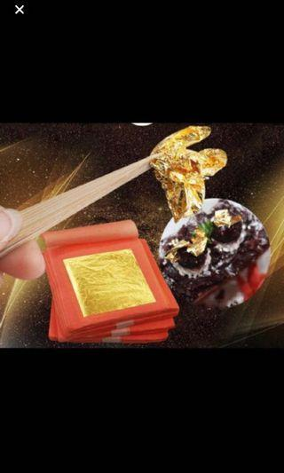 99.9% edible gold cake decoration flakes sheet