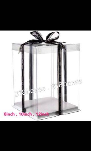 Tall 2 tier transparent cake box gift box