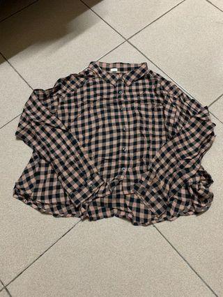 Gu 短版 格紋襯衫