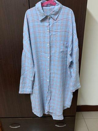 格紋長版襯衫