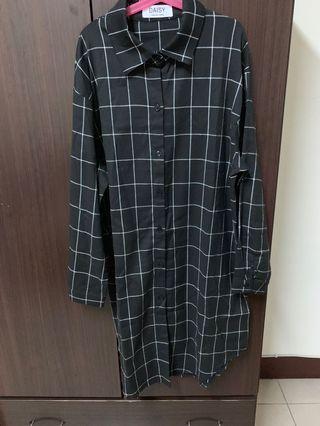 黑白線格紋長版襯衫