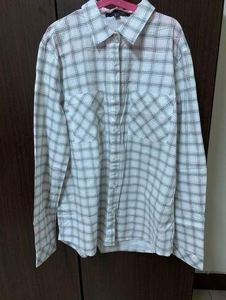 H:connect 白底黑線條格紋襯衫