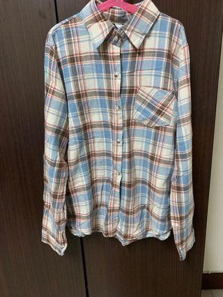 韓 咖啡格紋襯衫