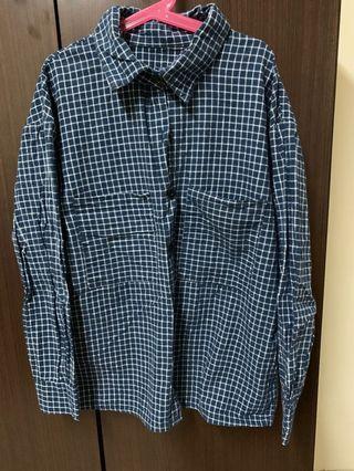 藍格紋 白線條襯衫