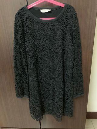 韓 蕾絲棉質長袖洋裝