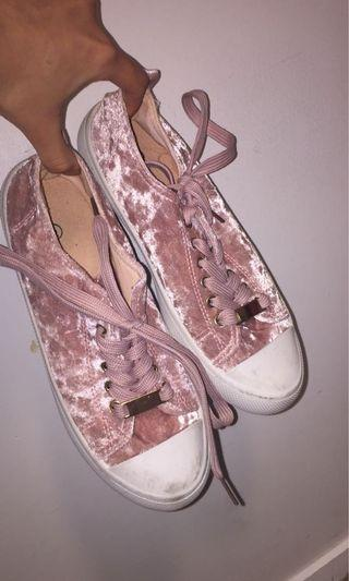 Pink velvet sneakers