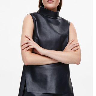 COS Genuine Leather Mock Neck Sleeveless Top