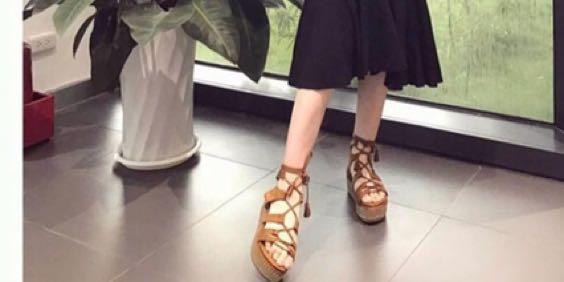 綁繩編織厚底鞋