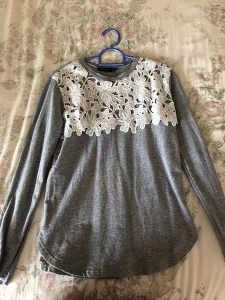 Grey floral long sleeved blouse