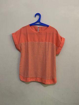 Blouse orange polkadot
