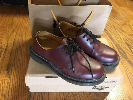 馬汀 Dr martens 3孔皮鞋 酒紅 鞋