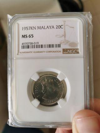 Rare Key Date 1957KN Malaya 20 Cents
