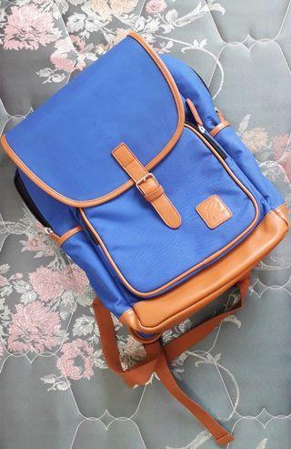 PortMan學院風爵士藍單扣皮革雙肩背包