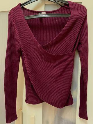 H&M Dark Purple Knitted Top