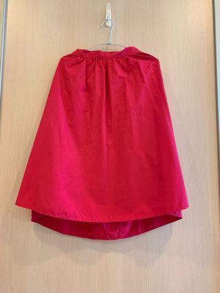 Gu 桃粉色及膝裙