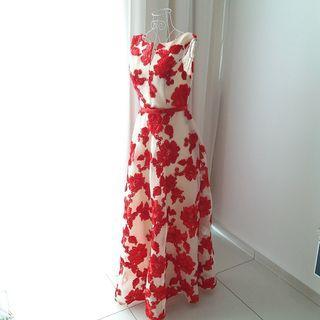 Red Ribbon Net Dinner Dress