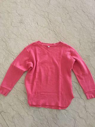 UNIQLO pink vneck jumper