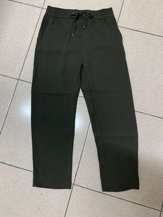 H&M 墨綠休閒長褲