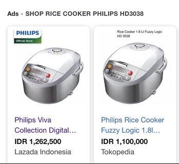 Rice Cooker Philips Viva Collection Digital Rice Cooker HD3038